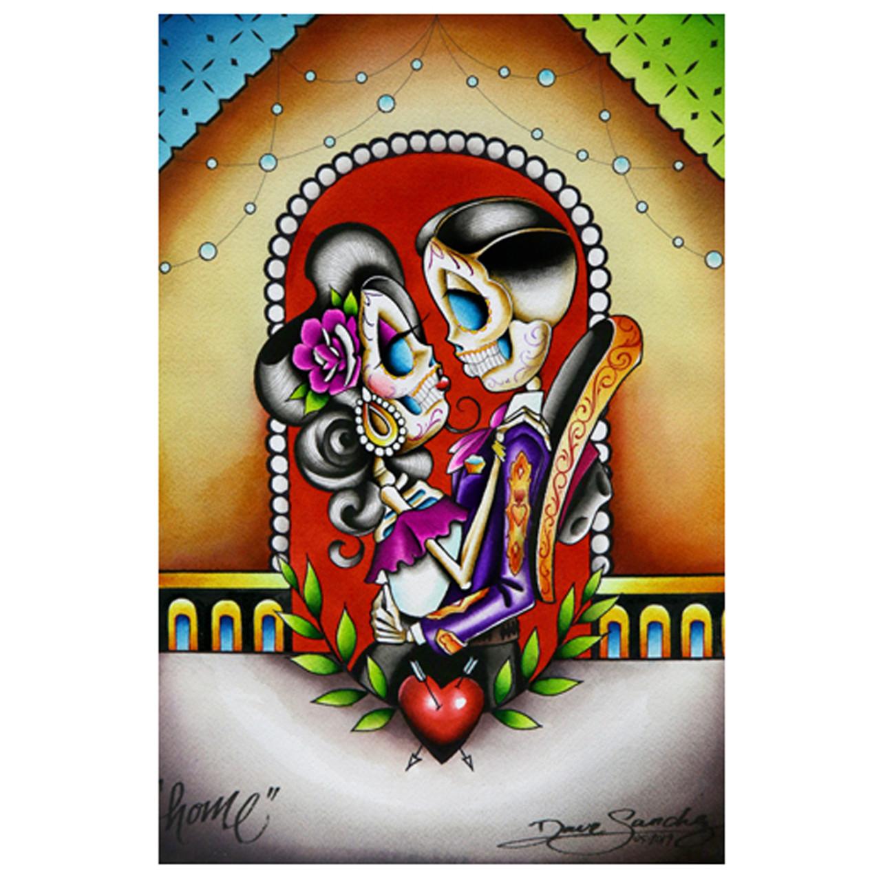 Gracias Mi Amor by Dave Sanchez Tattoo Art Print Canvas Giclee Sugar Skull Love