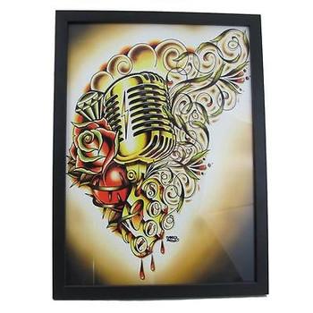 Hart & Soul by Tyler Bredeweg Framed Art Print Vintage Rockabilly Microphone