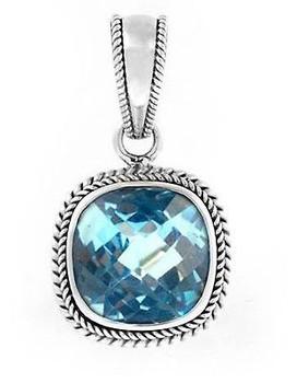 Blue Topaz Gemstone Pendant Sterling Silver