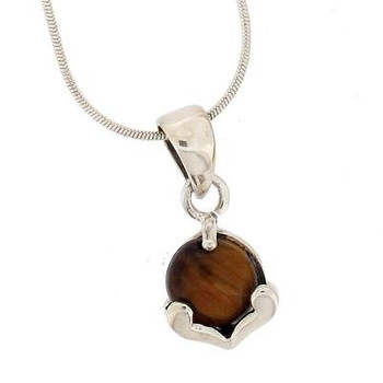 Small Brown Tigers Eye Pendant Sterling Silver Jewelry