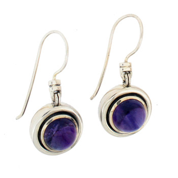 Round purple Amethyst sterling silver dangle earrings.