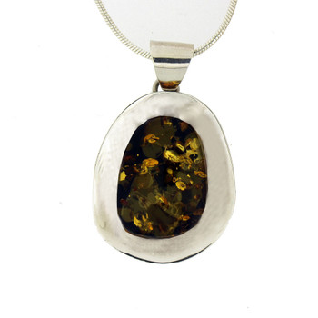 Green Amber sterling silver pendant.