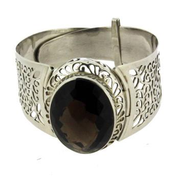 Large Elegant Brown Smoky Topaz Bracelet Sterling Silver Semi Prescious Gemstone