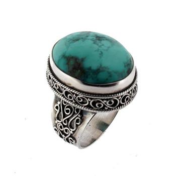 Blue Turquoise Ring Sterling Silver Size 9.5 Gemstone Bali Detail Design