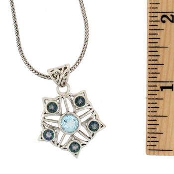 Faceted Blue Topaz and Lucky Stone Sterling Silver Pendant