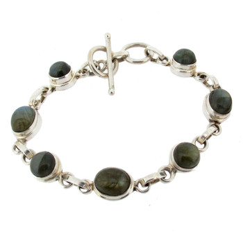 Labradorite sterling silver bracelet with toggle.
