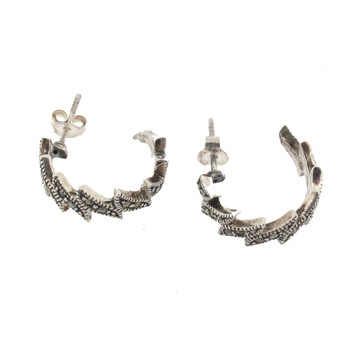 Side view of Marcasite hoop earrings.