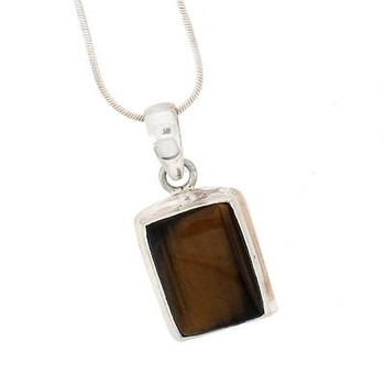 Rectangle Brown Tigers Eye Pendant Sterling Silver Jewelry