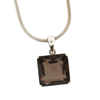 Faceted Smoky Topaz sterling silver pendant.