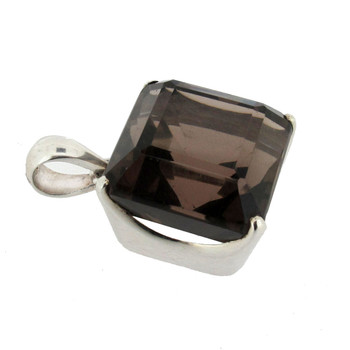 Faceted Smoky Topaz sterling silver pendant side view.