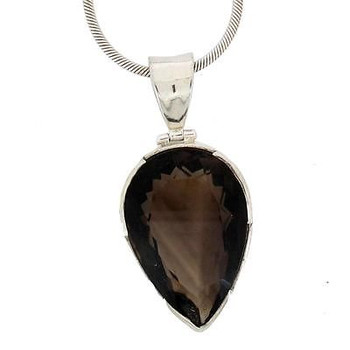 Large Brown Smoky Topaz Sterling Silver .925 Gemstone Faceted Pendant