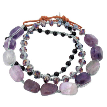 Amethyst beaded wrap bracelet.