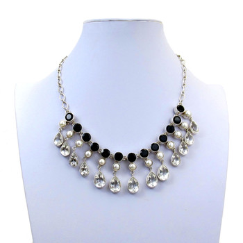 Faceted Onyx, Pearl and Clear Quartz Sterling Silver Necklace