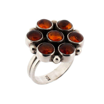 Brown Amber Flower Sterling Silver Cocktail Ring Polish Jewelry