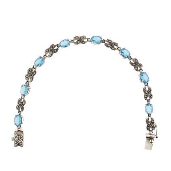 Blue CZ Marcasite sterling silver bracelet vintage style.