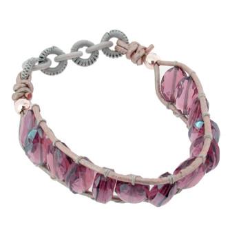 """8"""" Purple Amethyst Quartz Stretch Beaded Bracelet Stone Semi Prescious Jewelry"""