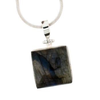 Square Labradorite Pendant Sterling Silver Blue Gray Gemstone Jewelry