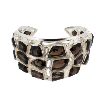Large Brown Smoky Topaz Bracelet Cuff Sterling Silver