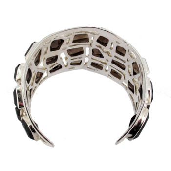 Large Brown Smoky Topaz Bracelet Cuff Sterling Silver