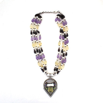 Full view of multi stone necklace.