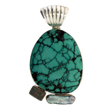 Turquoise Pendant  with Pearl and  Labradorite Sterling Silver Jewelry