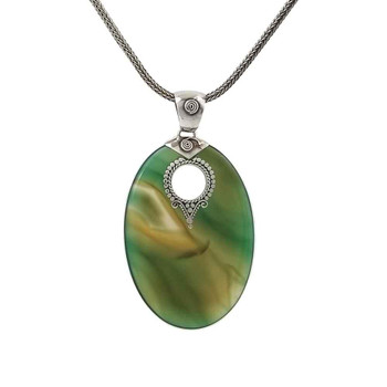 Large green Agate silver pendant on chain.