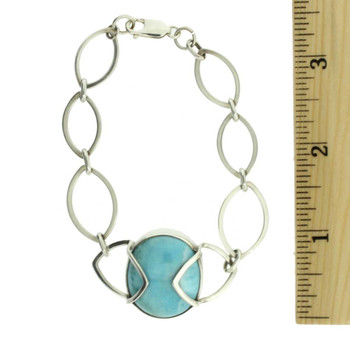Larimar sterling silver bracelet with ruler.