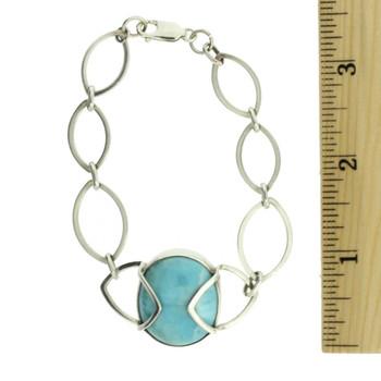 Larimar sterling silver bracelet with ruler.