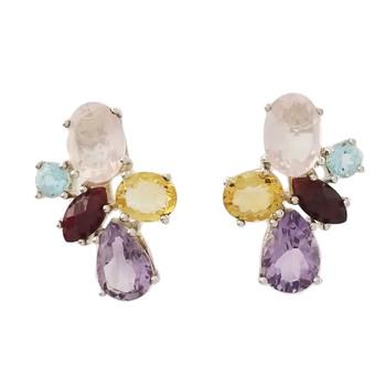 Multi stone sterling silver earrings.