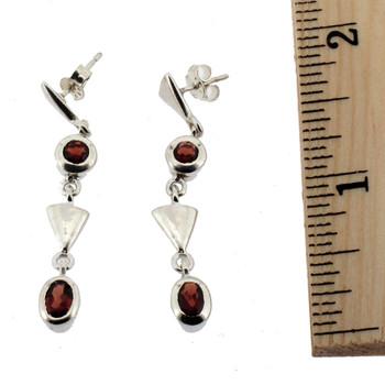 Sterling silver Garnet earrings.