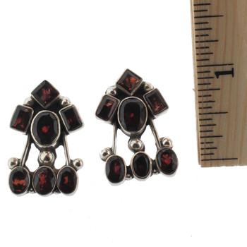 Garnet silver earrings.