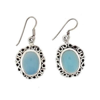 Blue Chalcedony Earrings Sterling Silver Oval Cabachon Jewelry .925 Hook