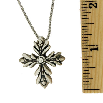 Sterling silver cross pendant with ruler.