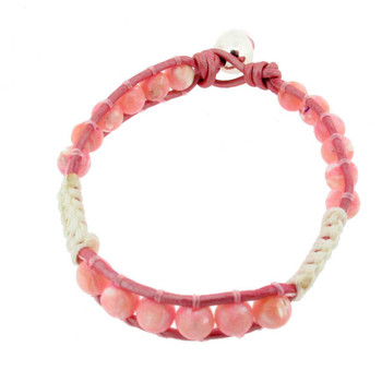 Pink Mother of Pearl Beaded Bracelet