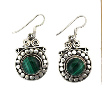 Green Malachite earrings.