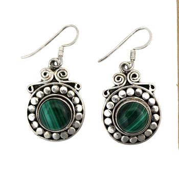 Green Malachite earrings.