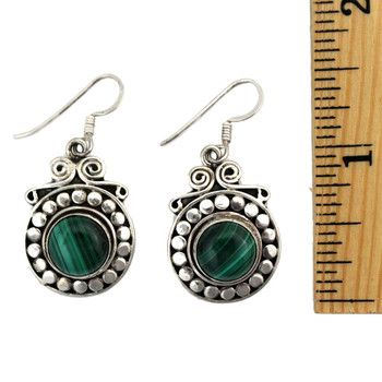 Green Malachite earrings measured to show size.