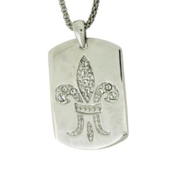 Sterling silver Fleur de Lis dog tag pendant.