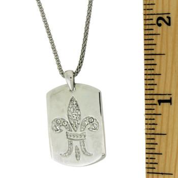 Sterling silver Fleur de Lis dog tag pendant with ruler.