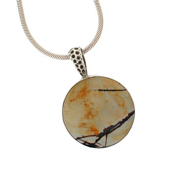 Dendritic Jasper Round Sterling Silver Pendant Necklace Jewelry Tan Black USA