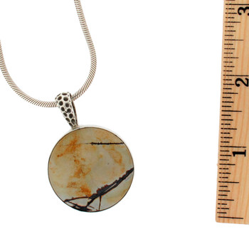 Dendritic Jasper Round Sterling Silver Pendant Necklace Jewelry Tan Black USA