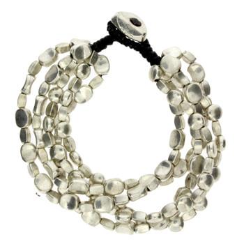 5 Strand Silver Beaded Alloy Bracelet Wrist Jewelry Waxed Linen Wristband