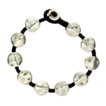 Hammered silver alloy beaded bracelet with waxed linen.