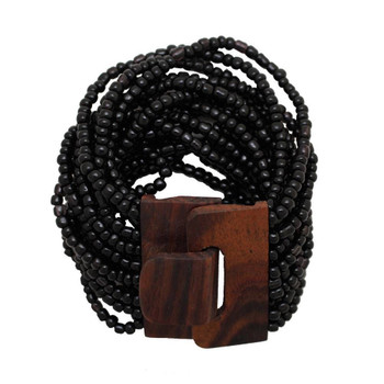 Black Bali Bracelet Glass Beads w/ Wood Buckle Elastic Costume Jewelry