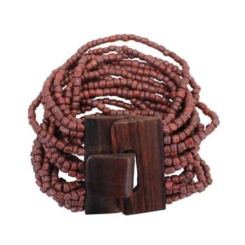 Rust Bali beaded elastic bracelet.