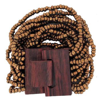 Bronze beaded wood stretch bracelet.