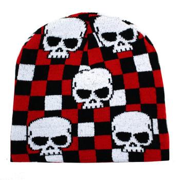 Checkered beanie with skulls.