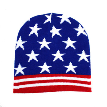 Red and White Stripes Blue with White Stars American Flag Beanie