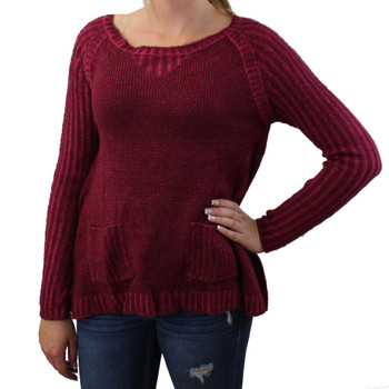 Burgundy sweater.