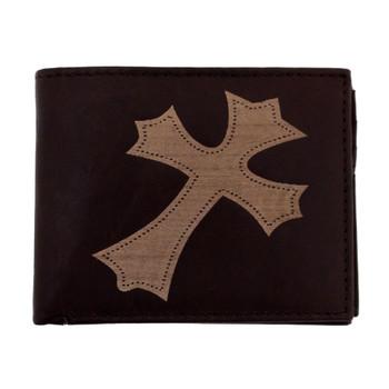 Men's brown leather bifold wallet.